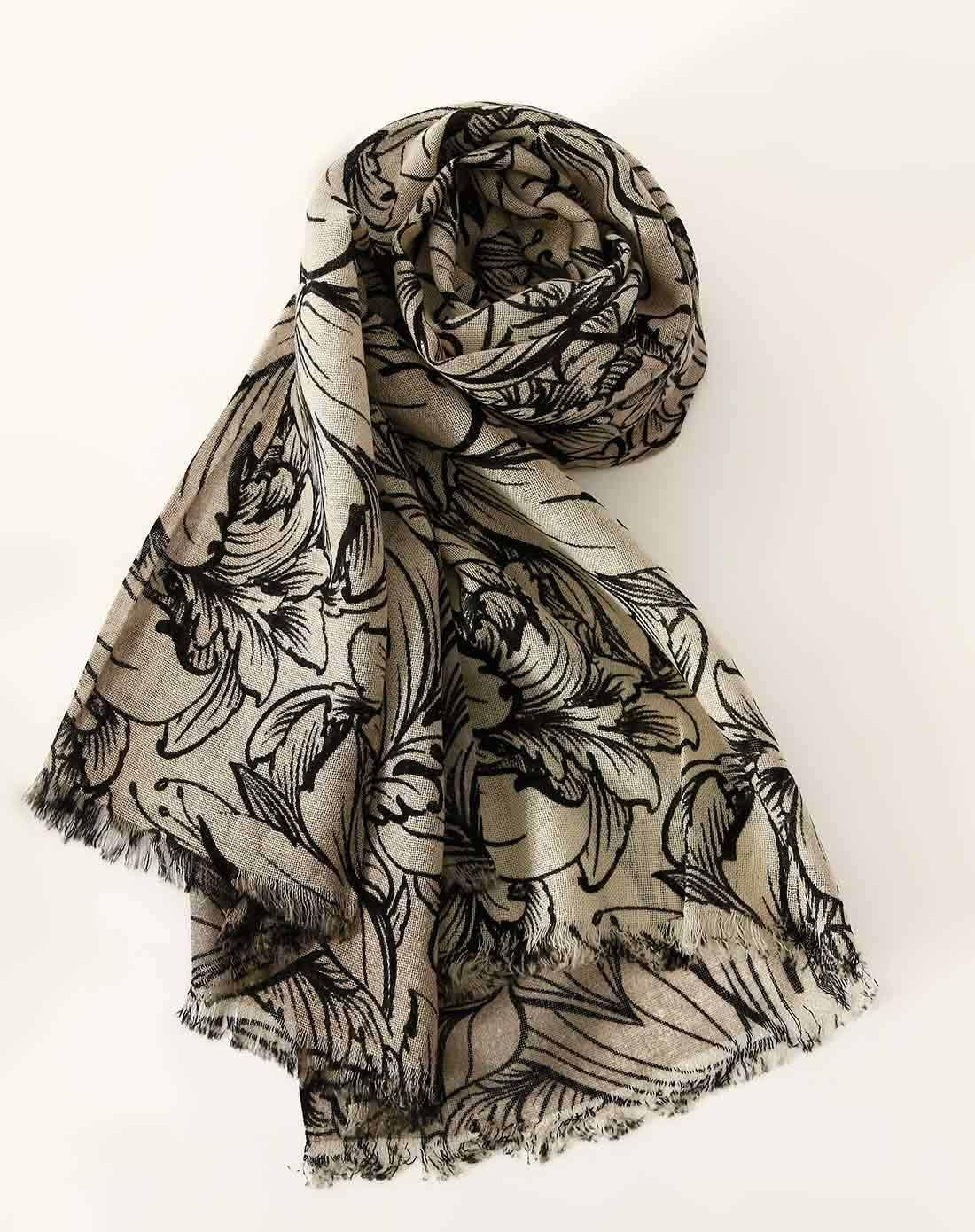 phillips围巾专场100%羊毛花朵树叶图案印花围巾
