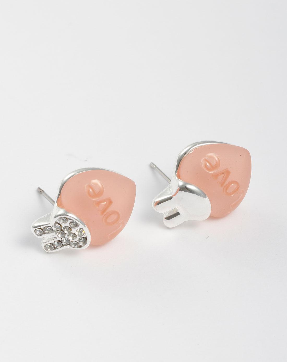 银/粉红色可爱心形耳环