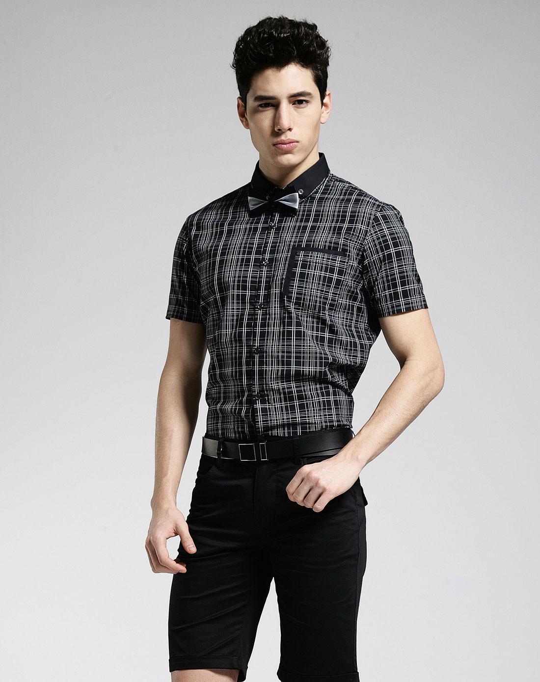 1978男装混合专场-gxg 黑/白色格纹时尚短袖衬衫