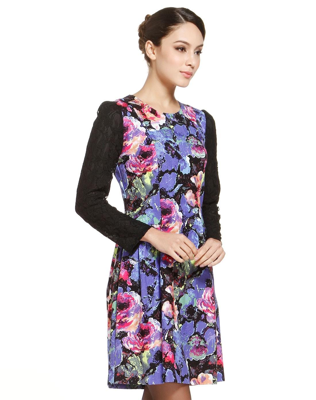 女克紫花水彩花卉梭织连衣裙