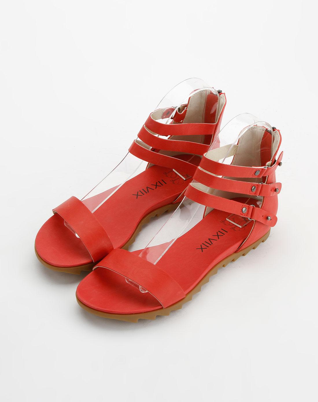 女款红色时尚简约平底凉鞋