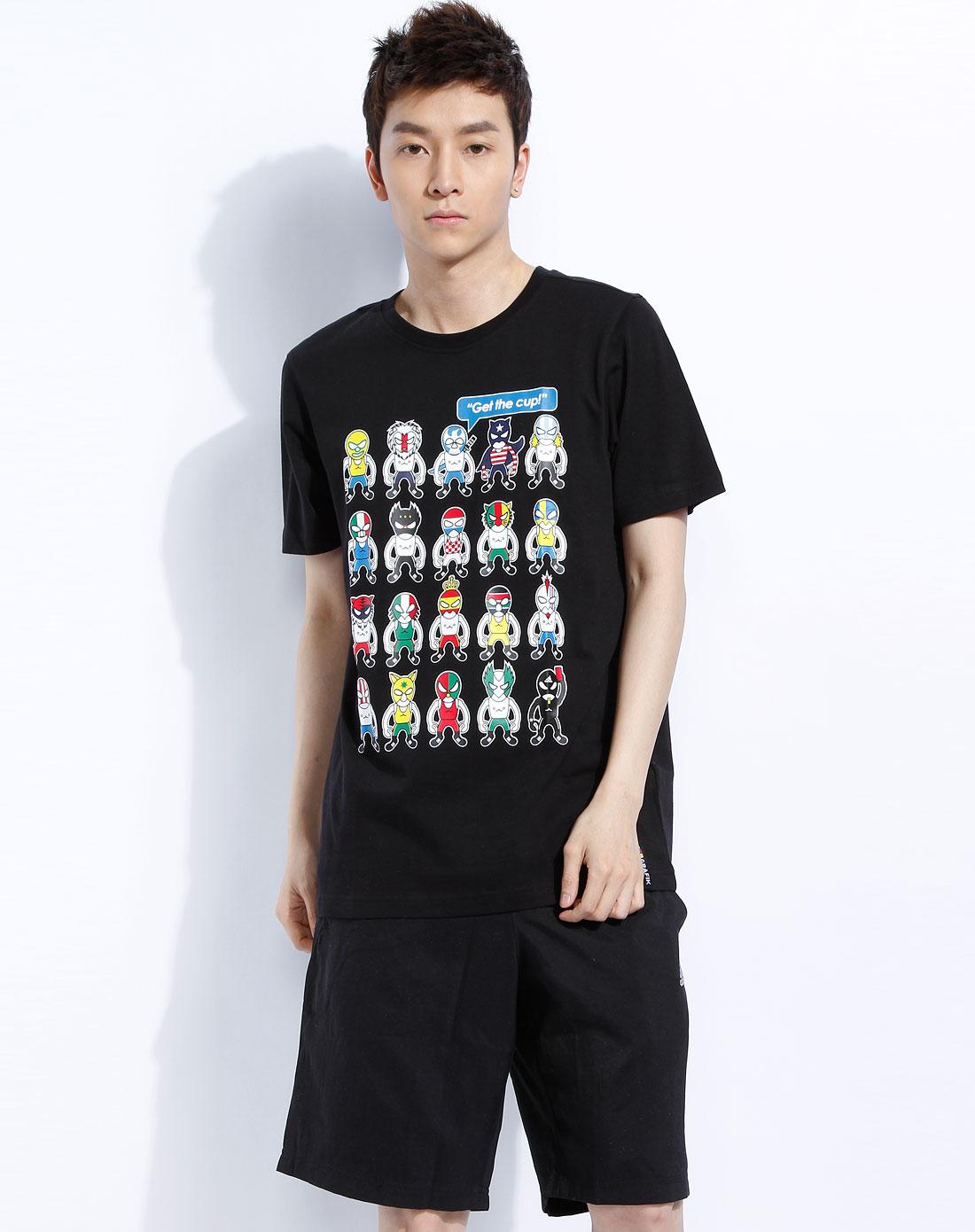 阿迪达斯adidas-男款黑色短袖印花t恤