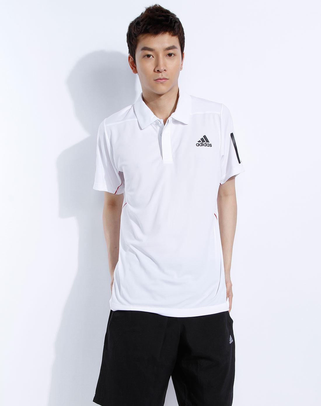 阿迪达斯adidas男装专场-男款白色反领短袖t恤