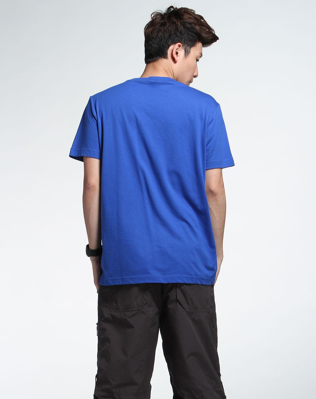森马男装专场-湖蓝色印字圆领短袖t恤图片