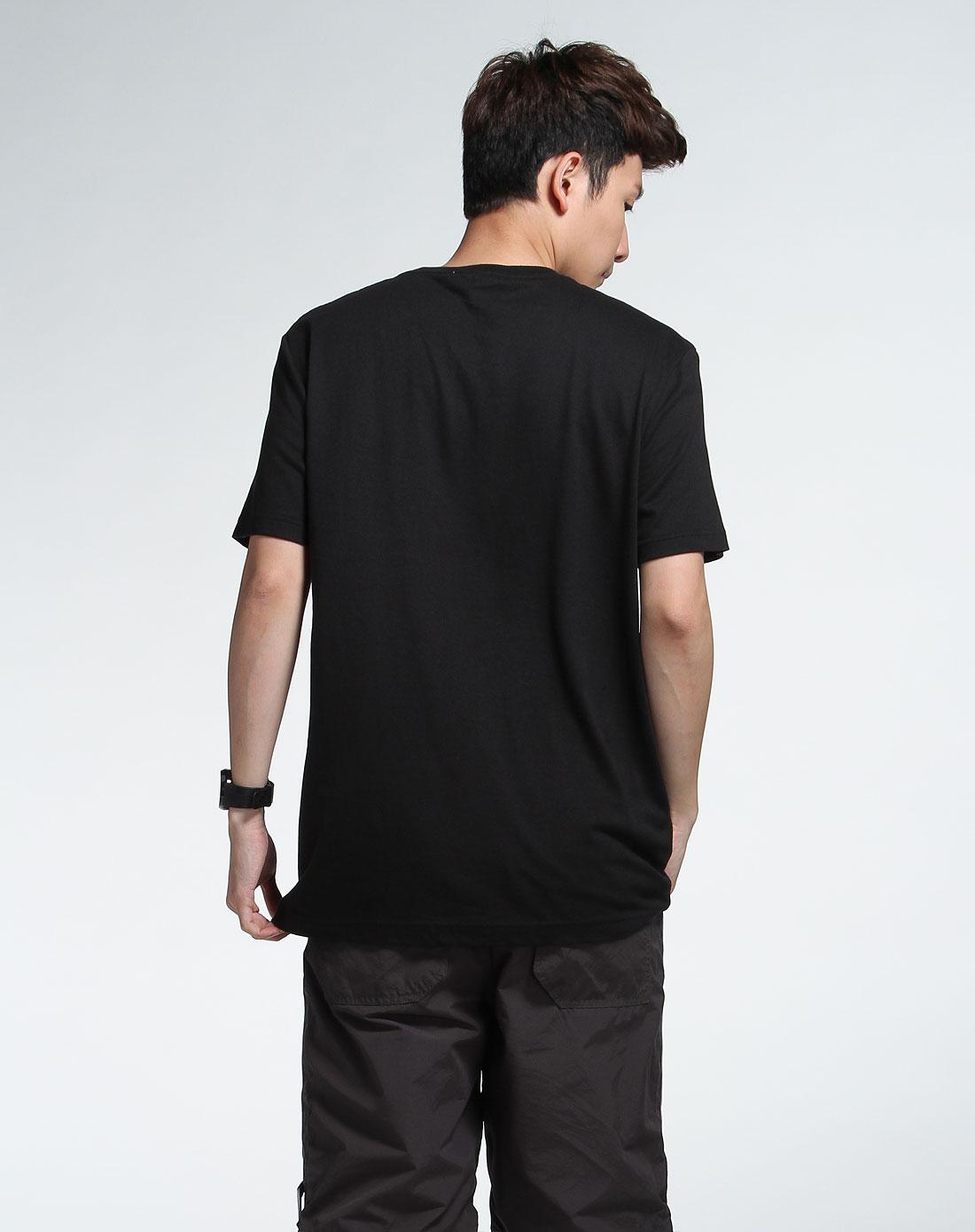 森马男装专场-黑色短袖休闲t恤图片