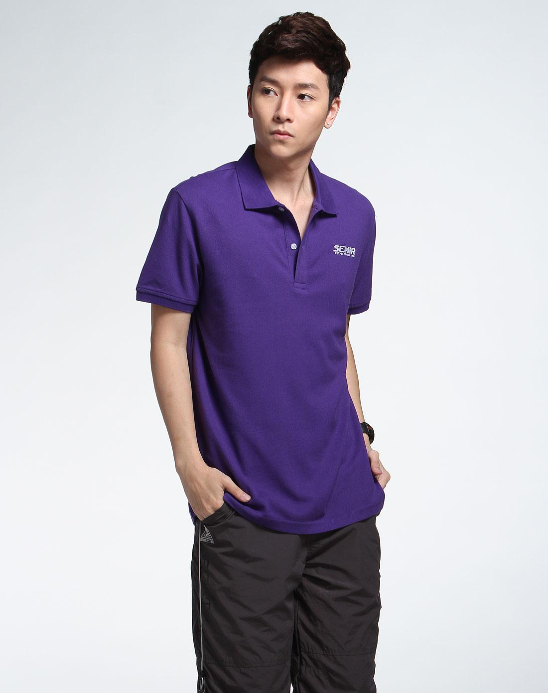 森马男装专场-紫色时尚短袖t恤图片