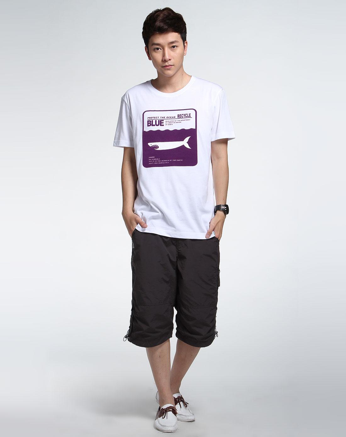 森马男装专场-白色休闲短袖t恤