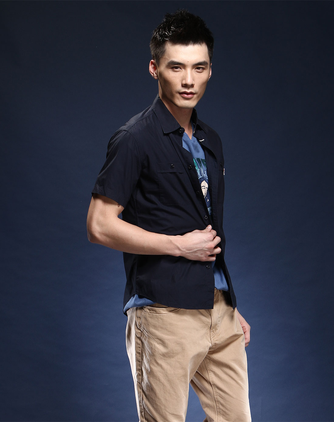 american宝蓝色简约短袖衬衫