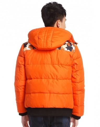 森马橙色迷彩拼接活力长袖羽绒服10132413118-3660