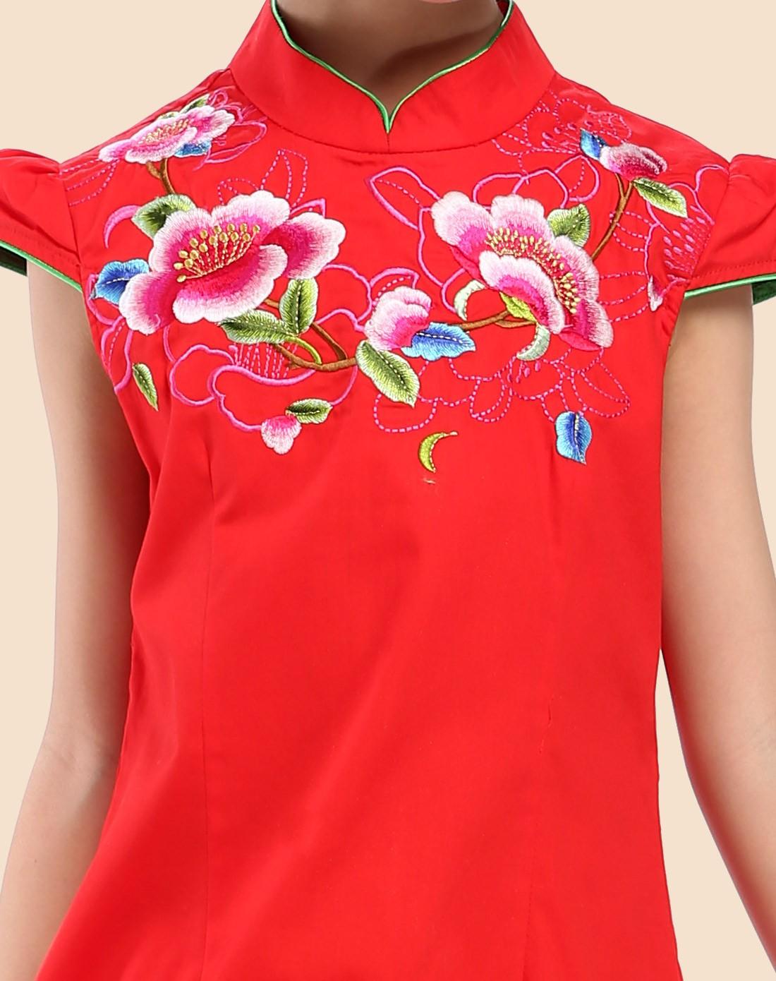 汪小荷民族风女童大红琉璃蝴蝶立领旗袍w3249y003