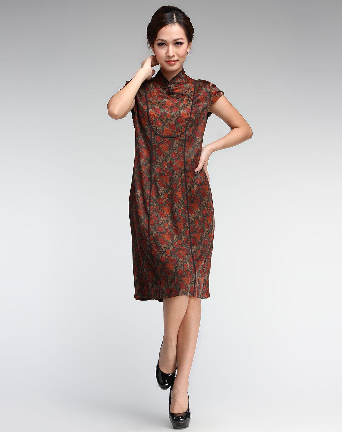 夜上海色立领怀旧斜襟短袖旗袍
