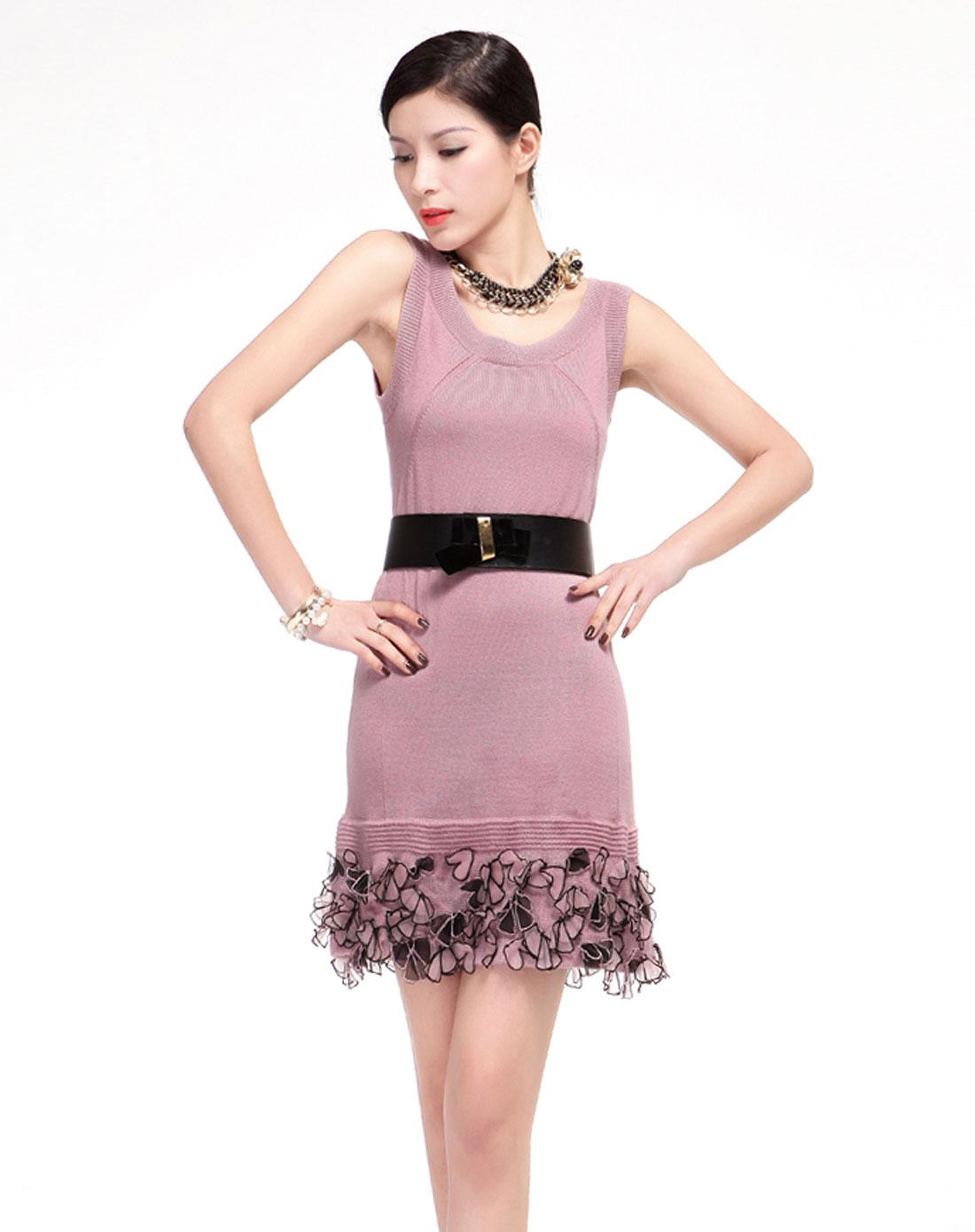 粉红色时尚无袖针织连衣裙18043