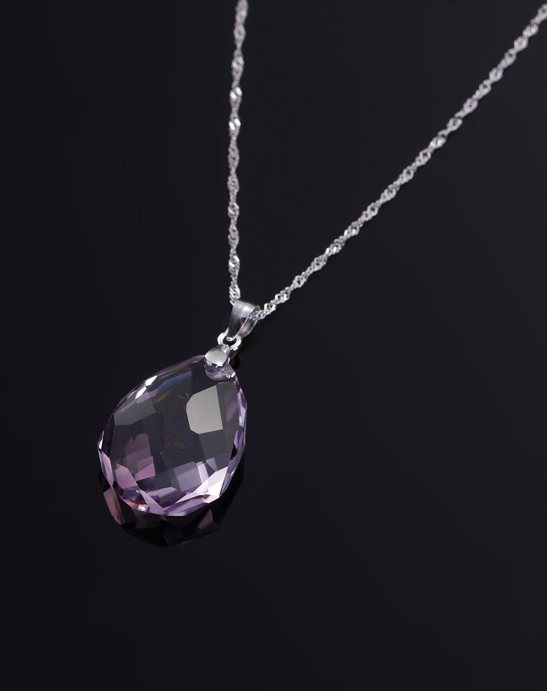 天然紫水晶水滴切面吊坠(配925银扣银项链)