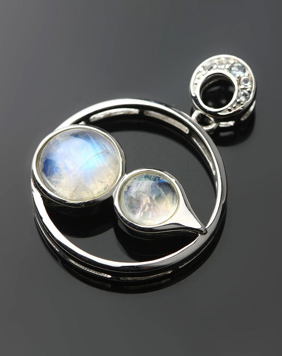 透白蓝光月光石吊坠-高级蓝月光-圆满-福禄寿(附证书)图片