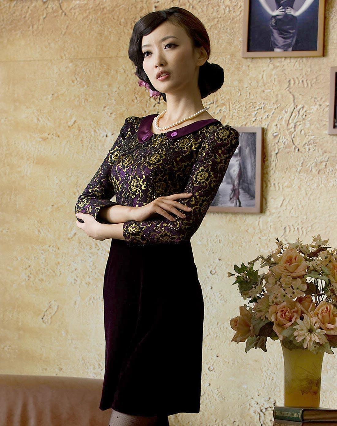 香郁金丝绒八分袖旗袍裙
