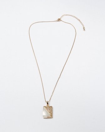 金色时尚长方形吊坠项链