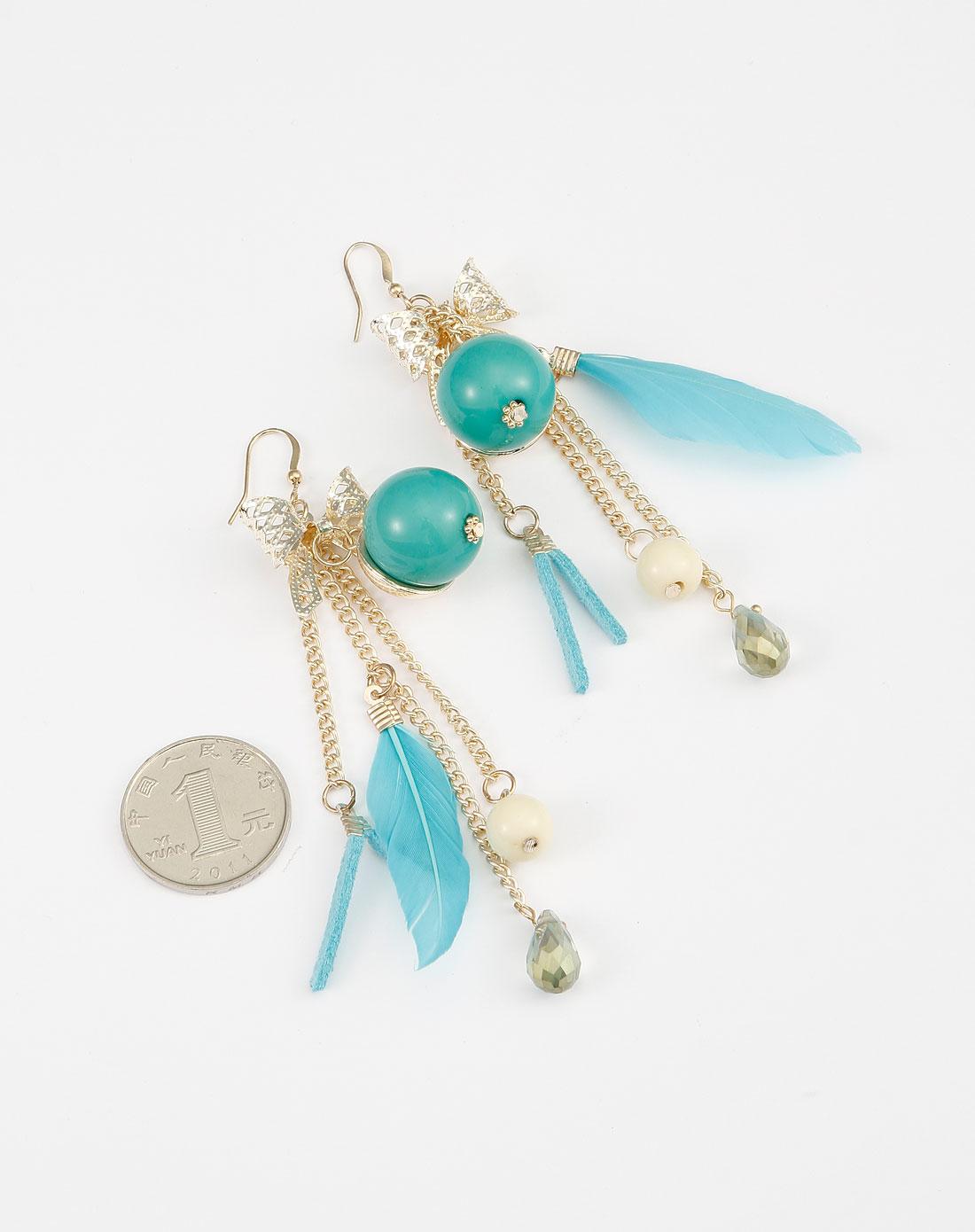 蓝/绿/金色羽毛耳环