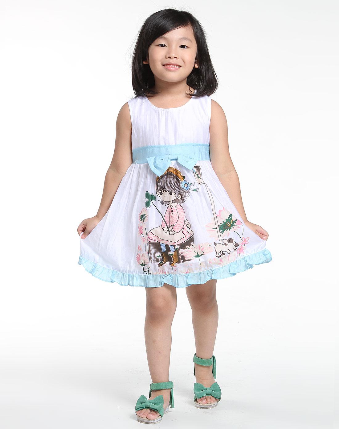 女童白/蓝色可爱无袖连衣裙