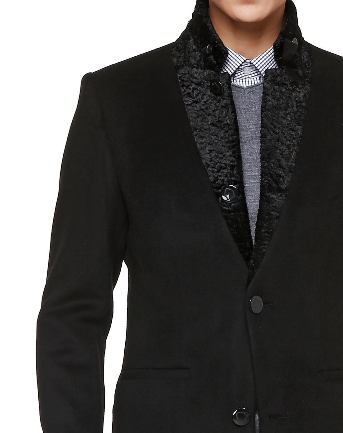 杉杉firs黑色男士成熟时尚商务大衣d30033