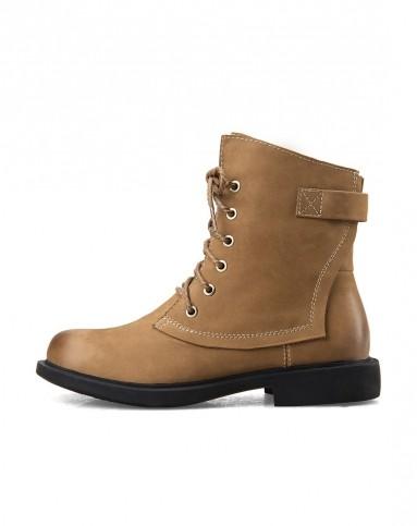 皮英伦风浅棕色马丁靴