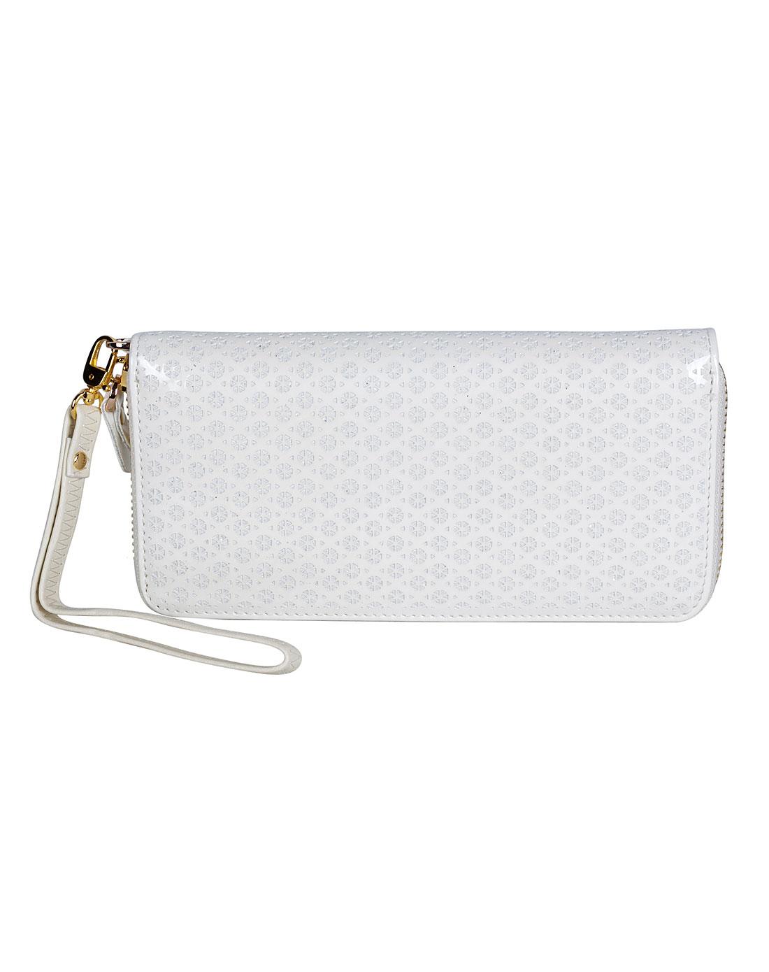 女款白色单拉链包