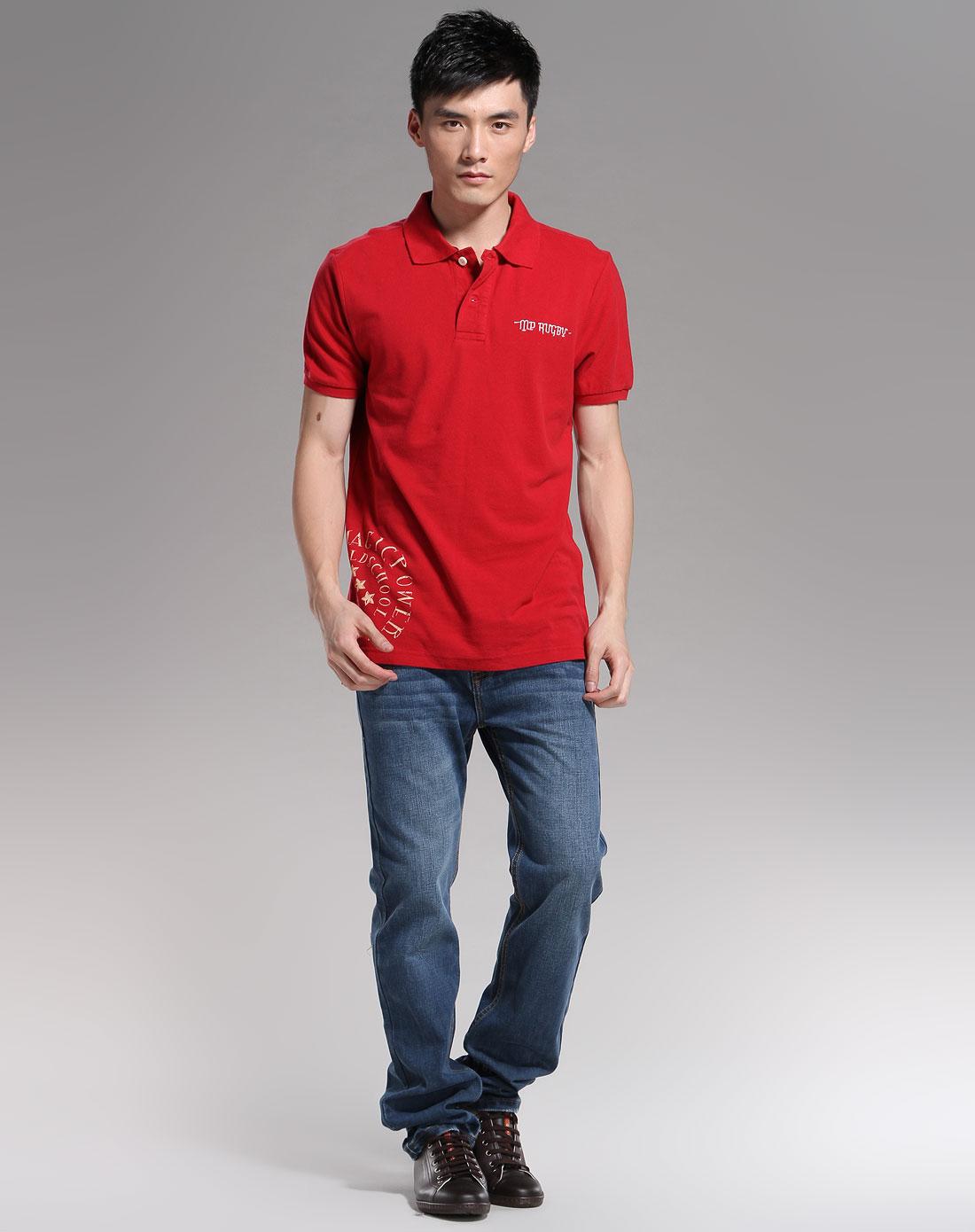 magic power男装专场-红色休闲短袖t恤