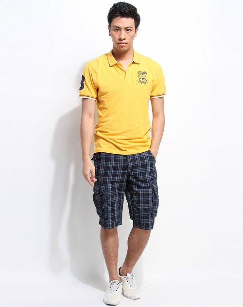 东方骆驼 黄色刺绣图案短袖polo衫