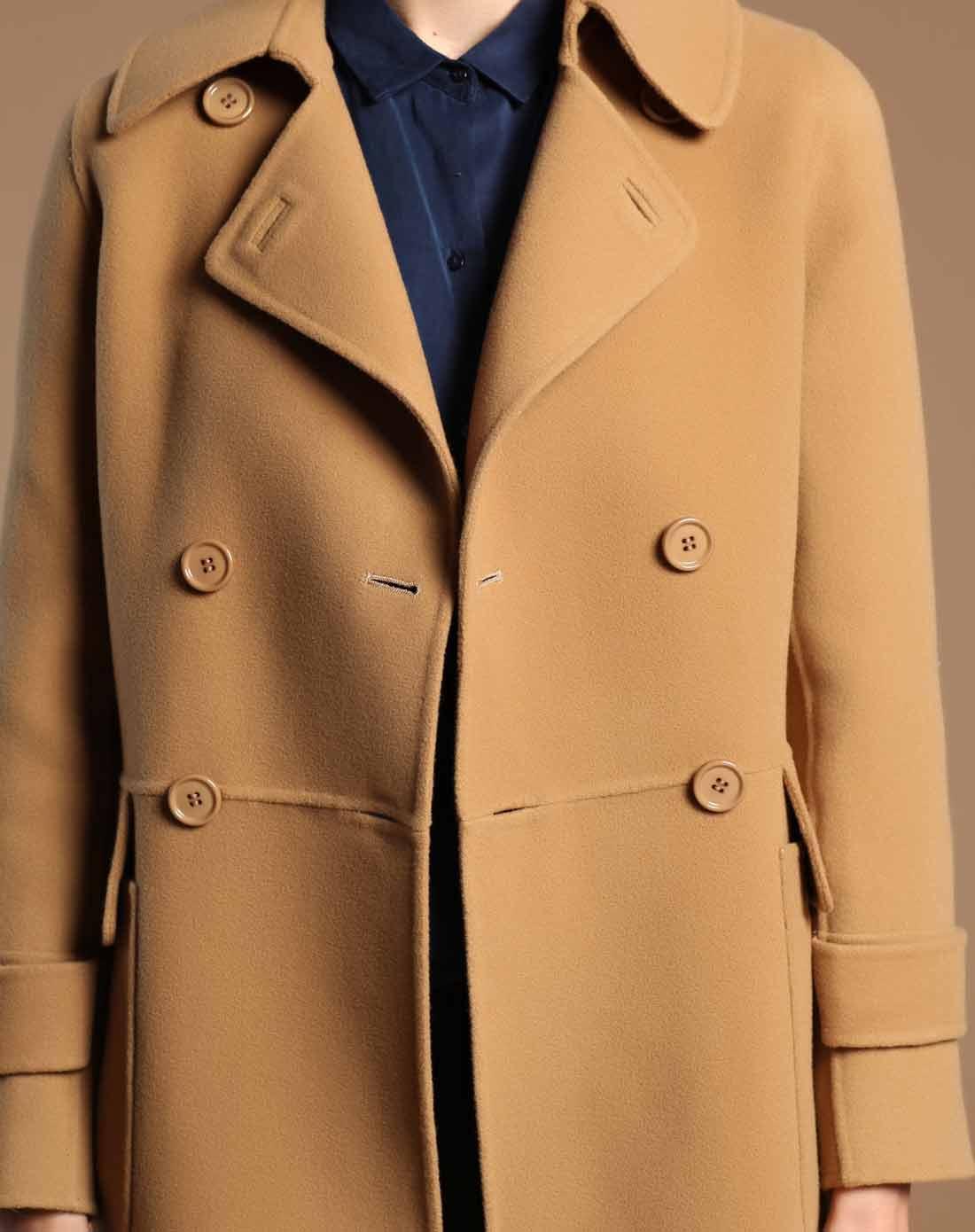 驼色双面呢方领大衣