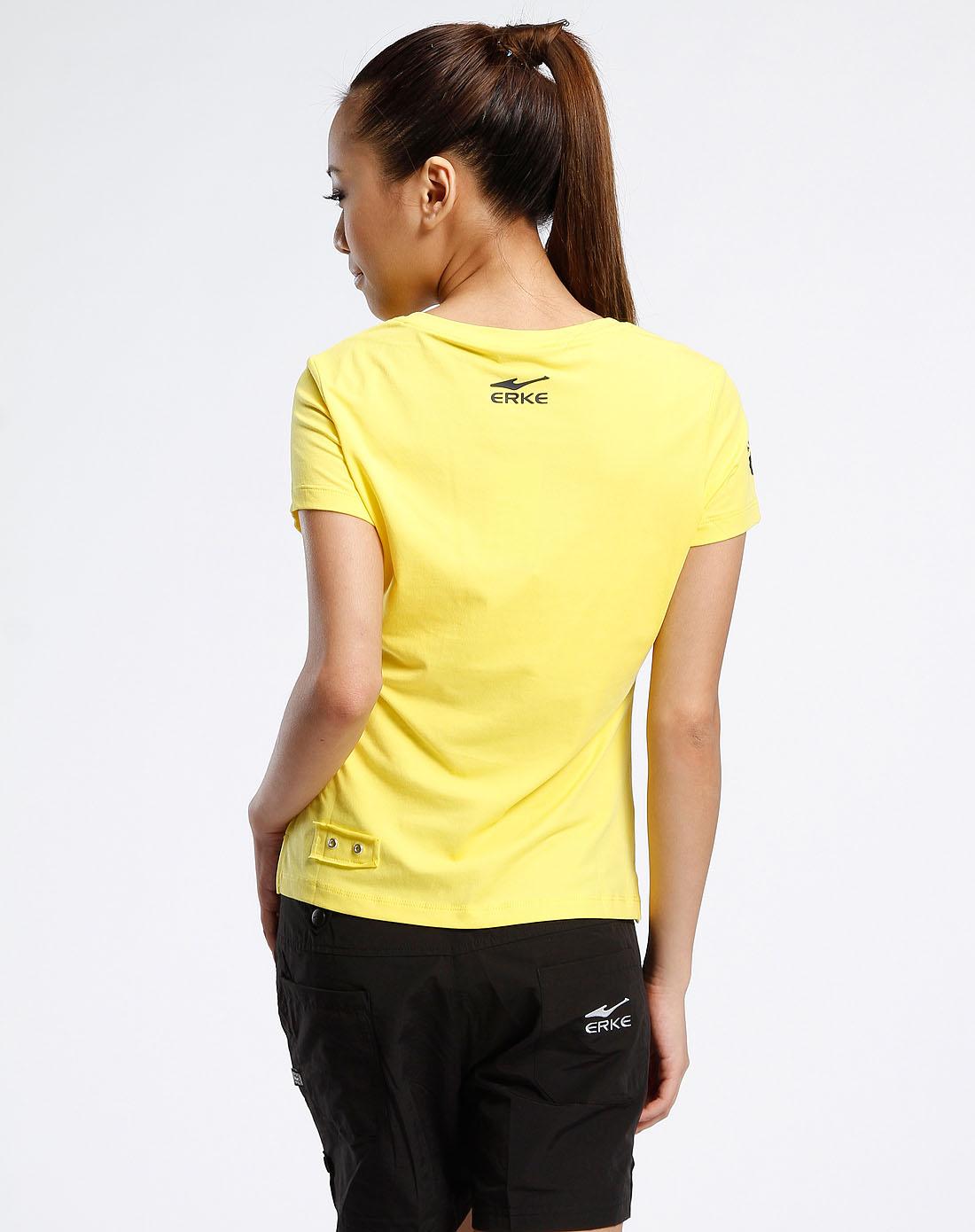女款黄色v领印字母短袖t恤