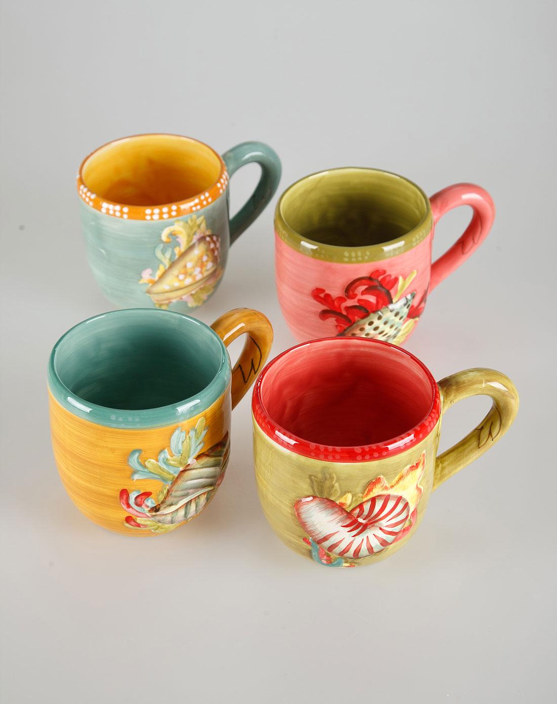 海洋珍奇陶瓷手绘浮雕马克杯四件套