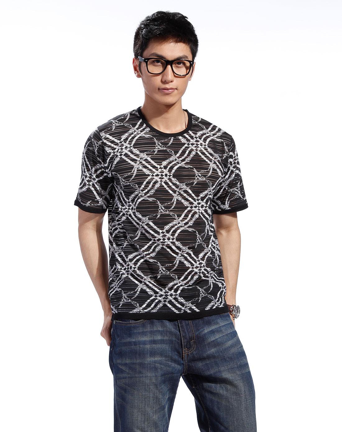 金菊 黑白色花纹短袖t恤