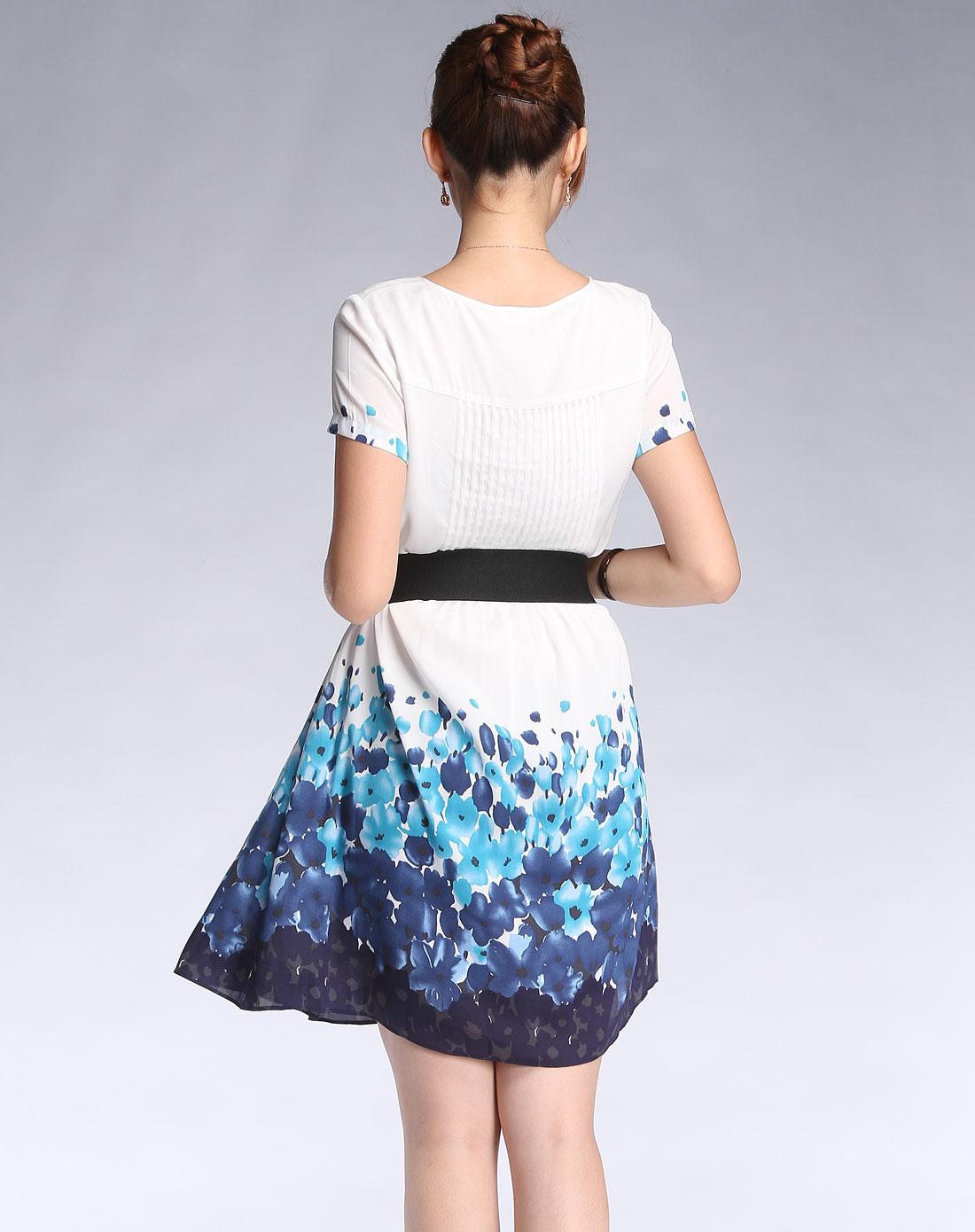 白/蓝色可爱淑女短袖连衣裙