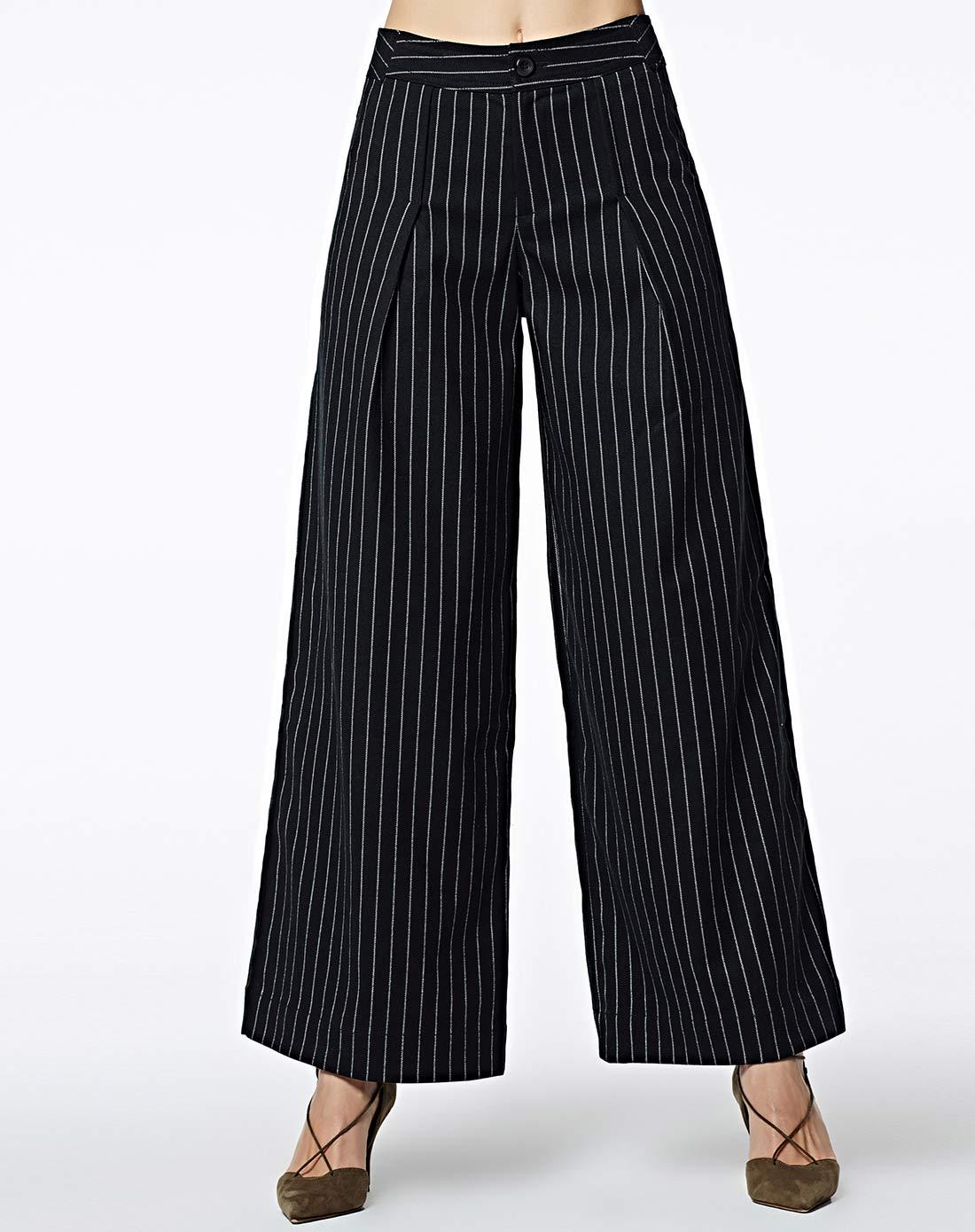 女款黑条纹阔腿裤