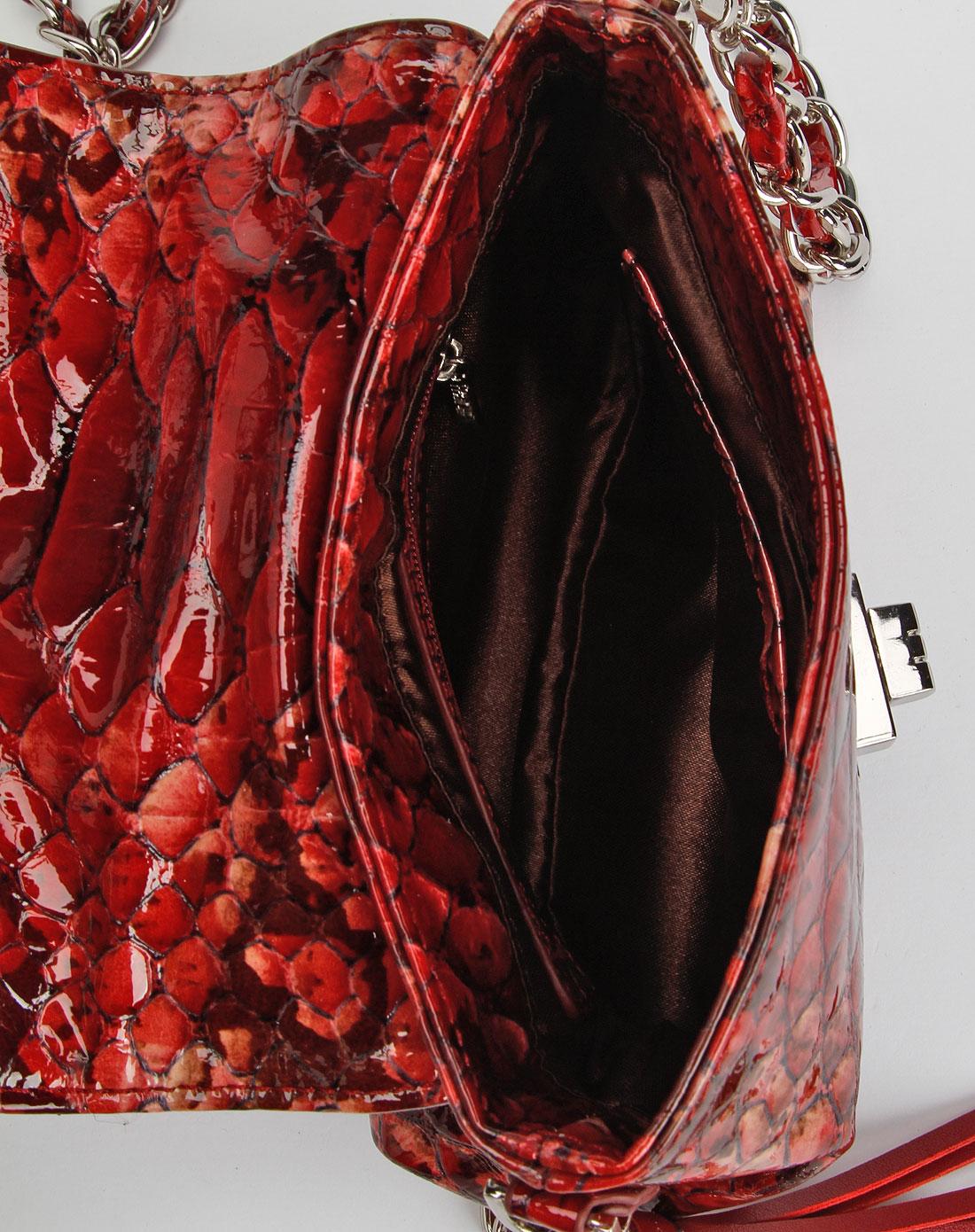 法赛纳francinel红色红色蟒蛇纹皮女装手袋eodsdaqx