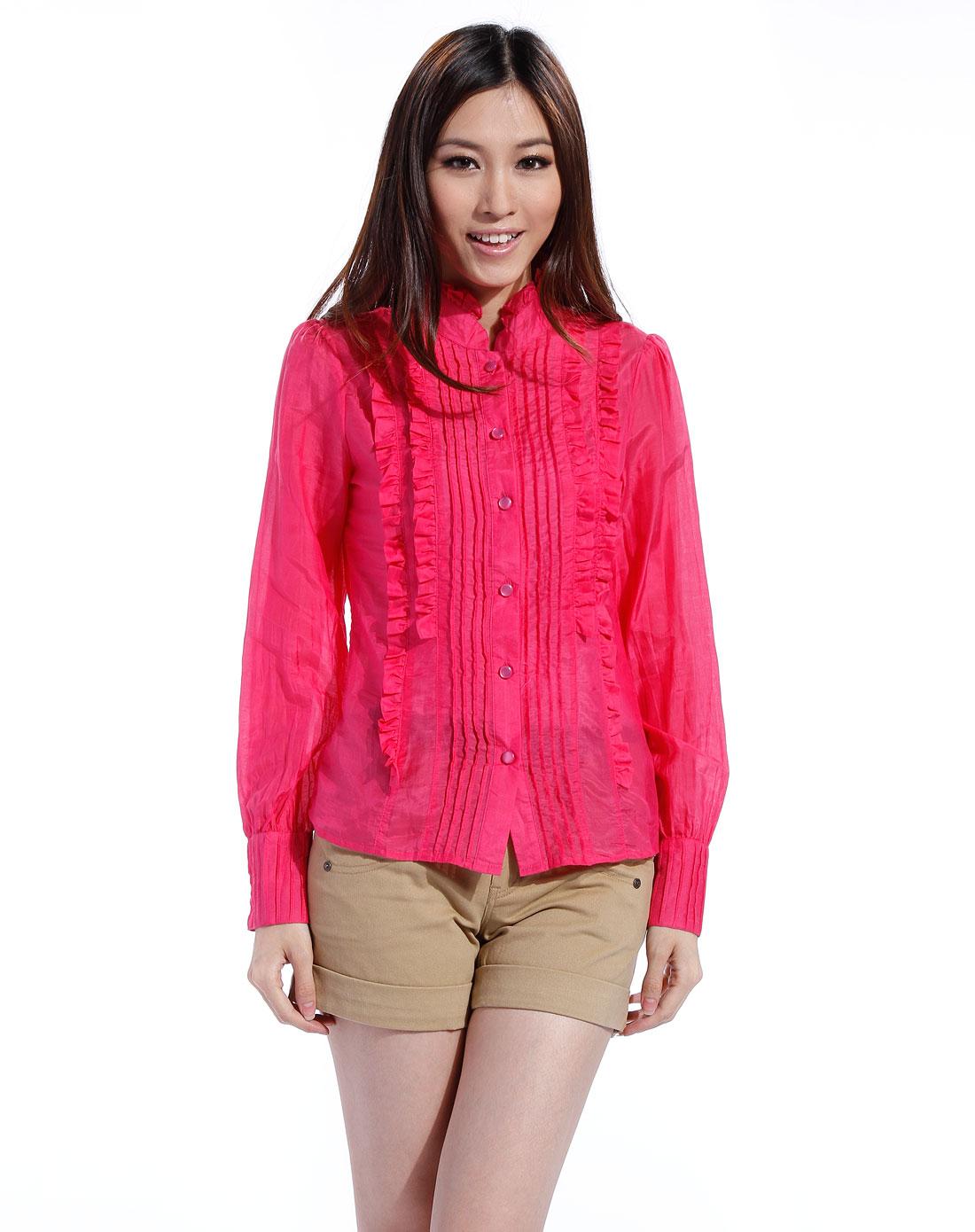 玫红色皱褶花边长袖衬衫