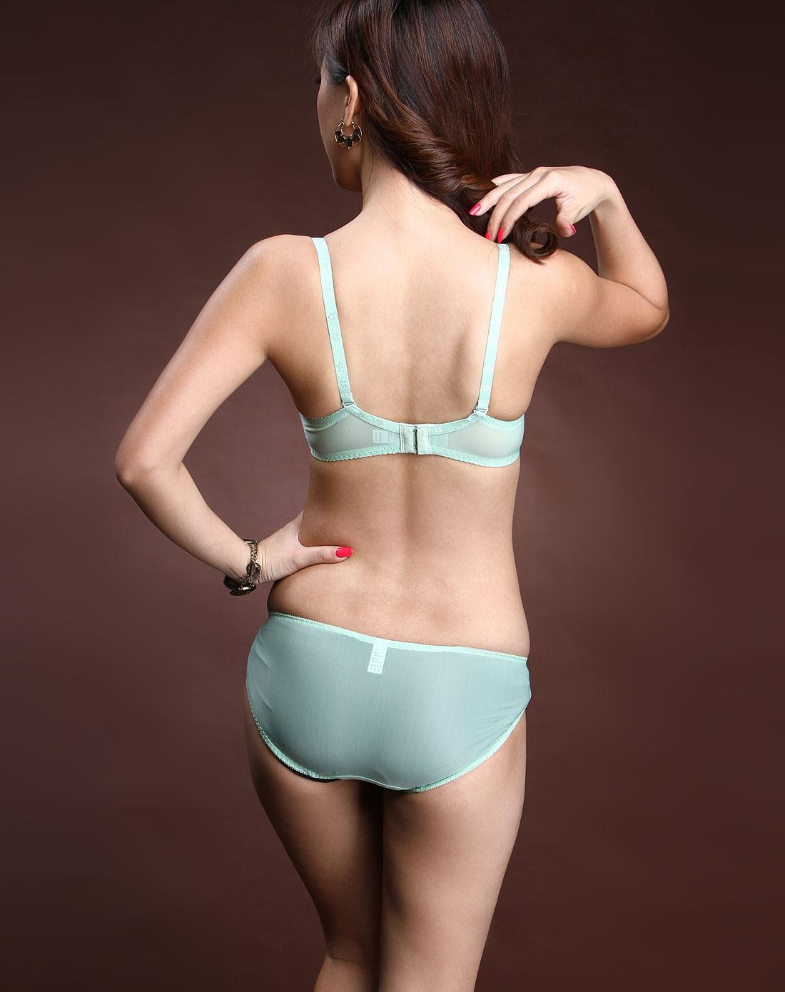 绿/粉红色绣花文胸内裤套装