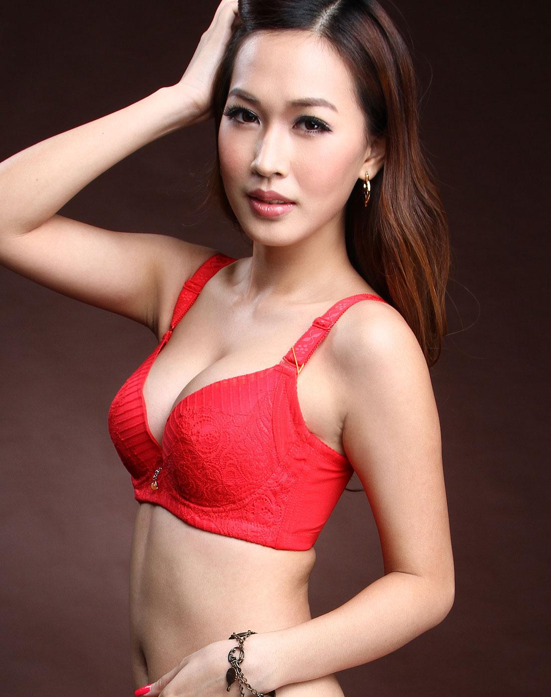 赏心shang xin内衣专场-红色蕾丝花纹文胸