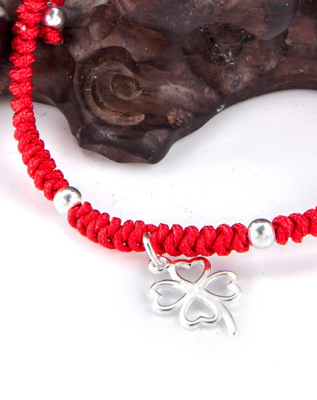 925银红绳编织四叶草手链