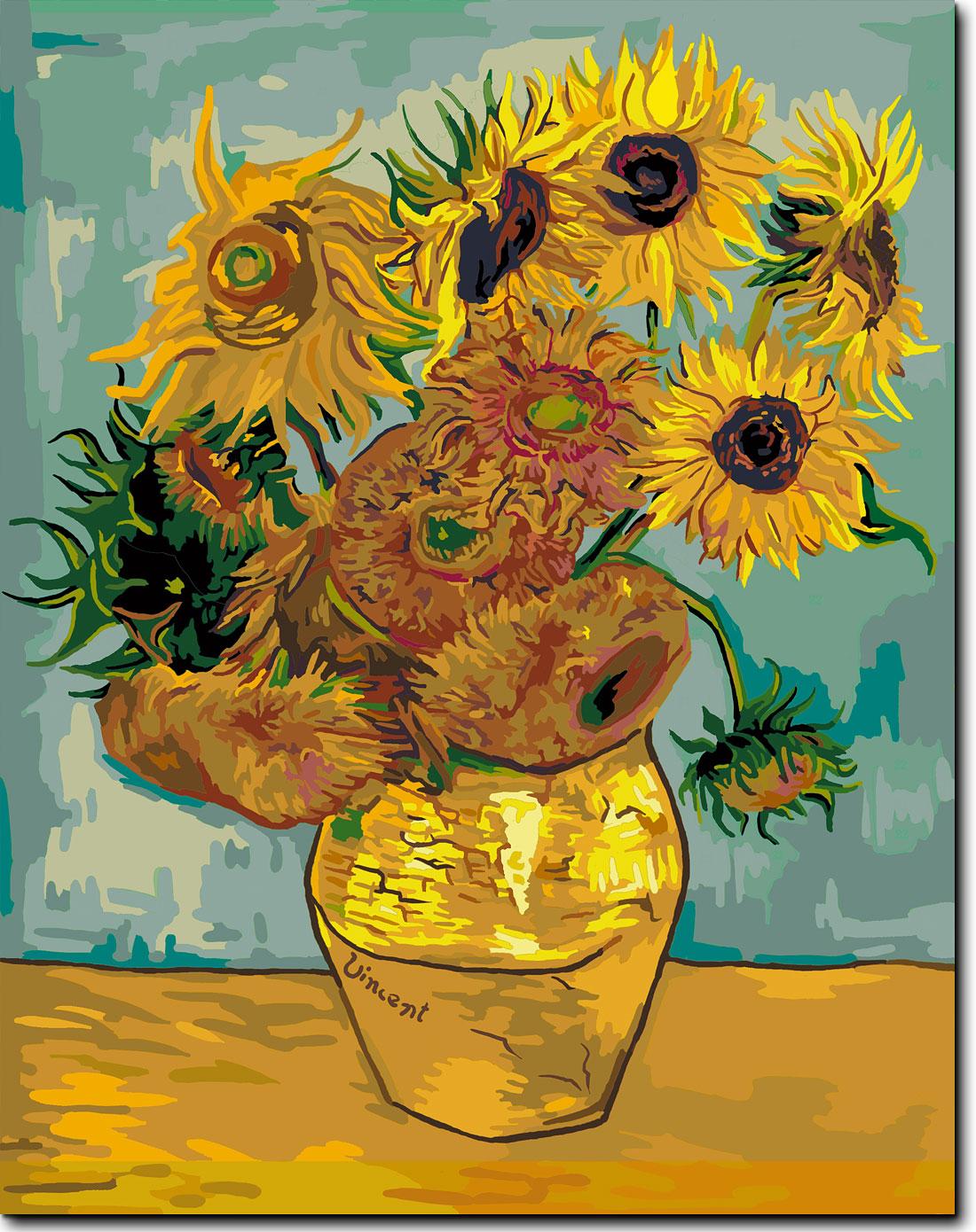 diy数字油画向日葵绷内框版 赠送仿世界名画一幅(梵高向日葵)