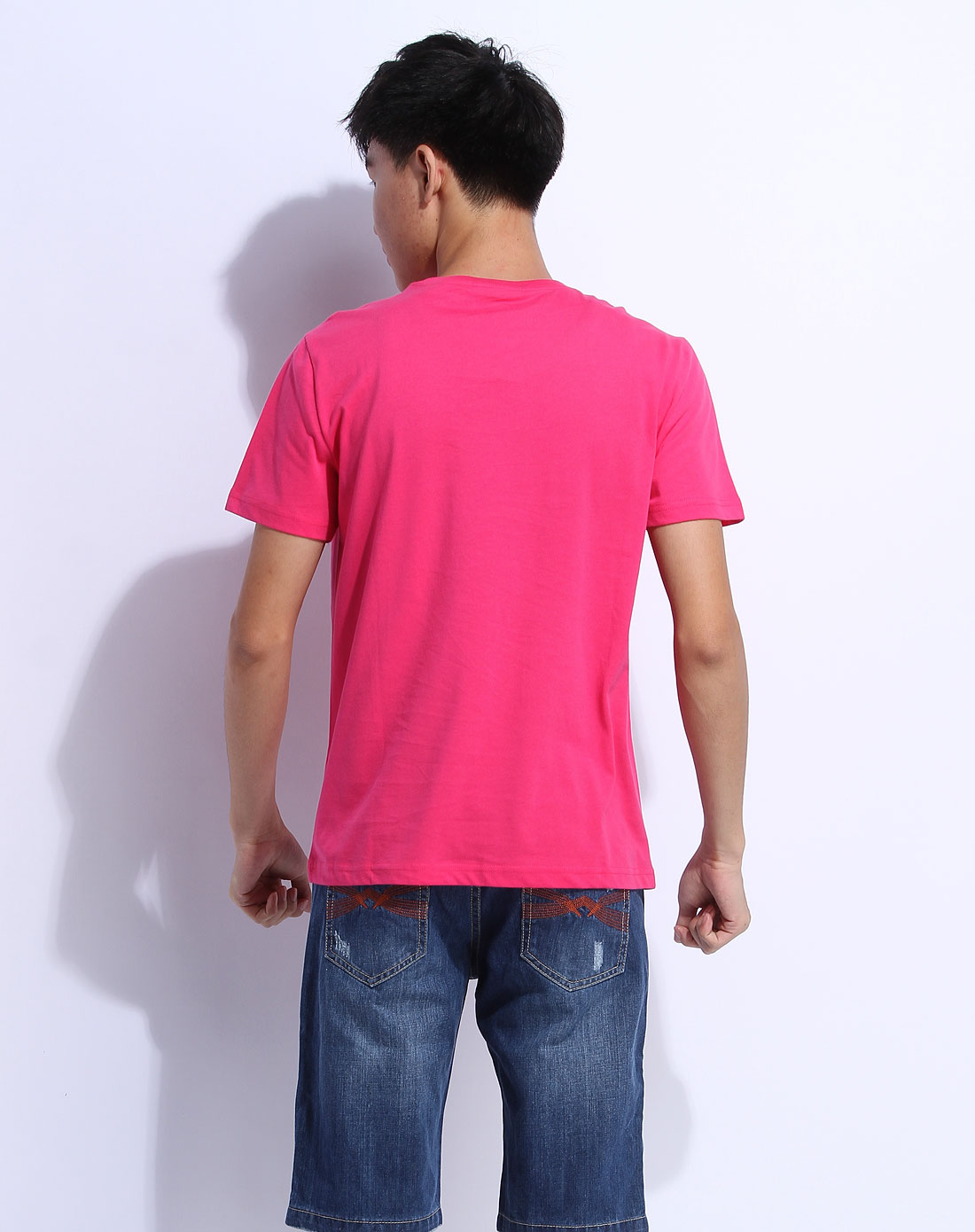 森马男装专场-桃红色短袖休闲t恤图片