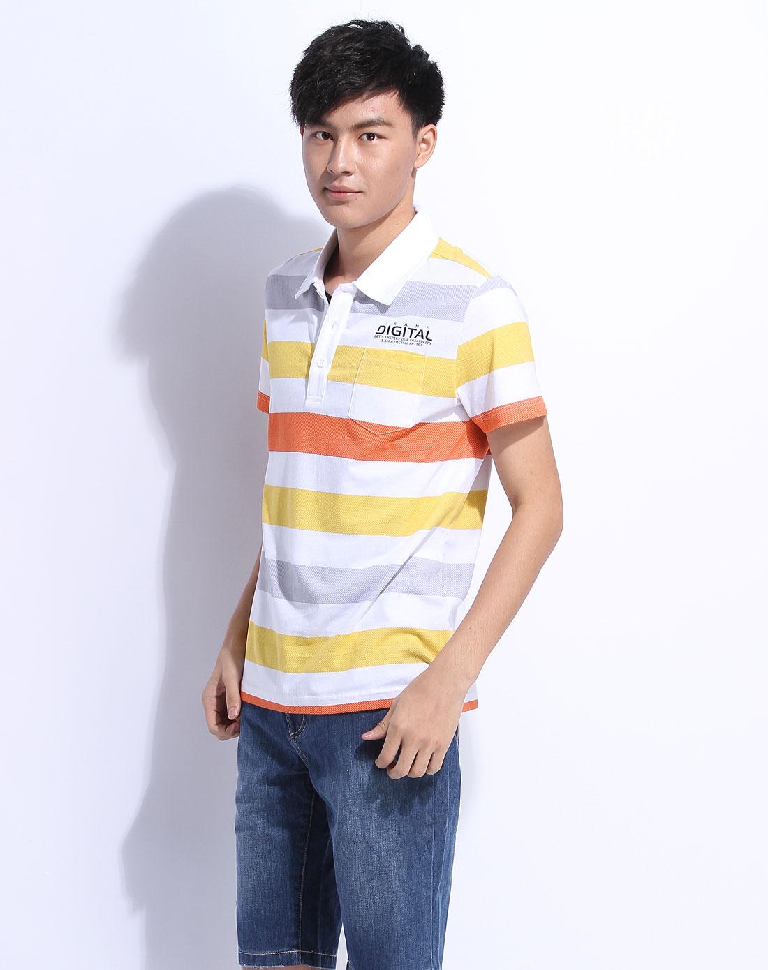 森马男装专场-黄色条纹短袖t恤图片