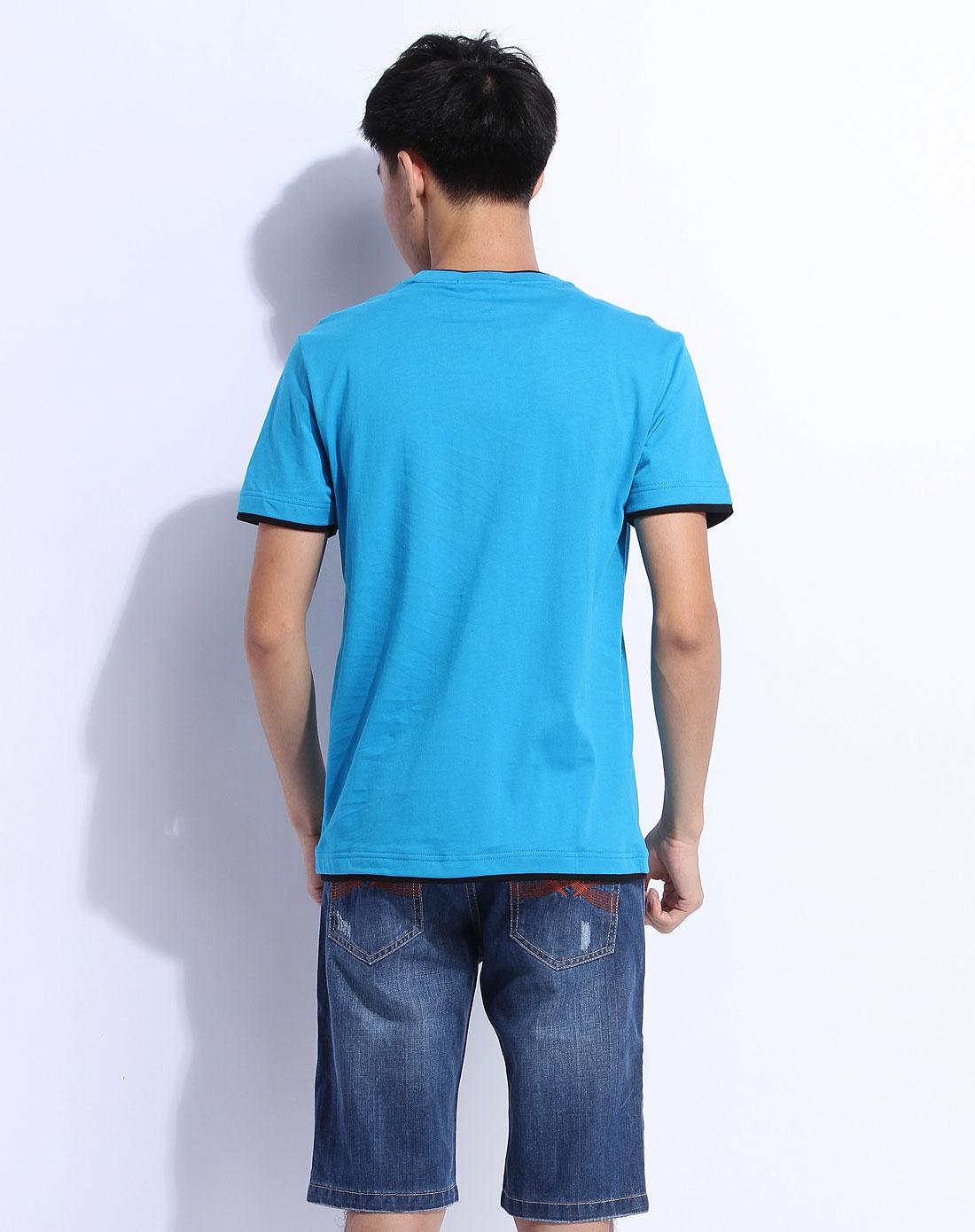 森马男装专场-蓝色短袖休闲t恤图片
