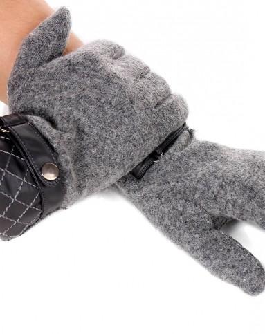 男式双层羊毛超绒里绣菱形扣带手套灰色男性