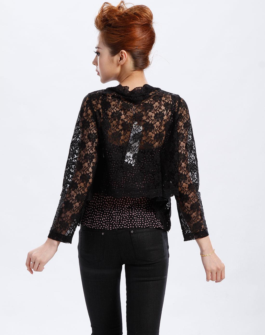 axara黑色镂空花纹长袖外套as7kt15599