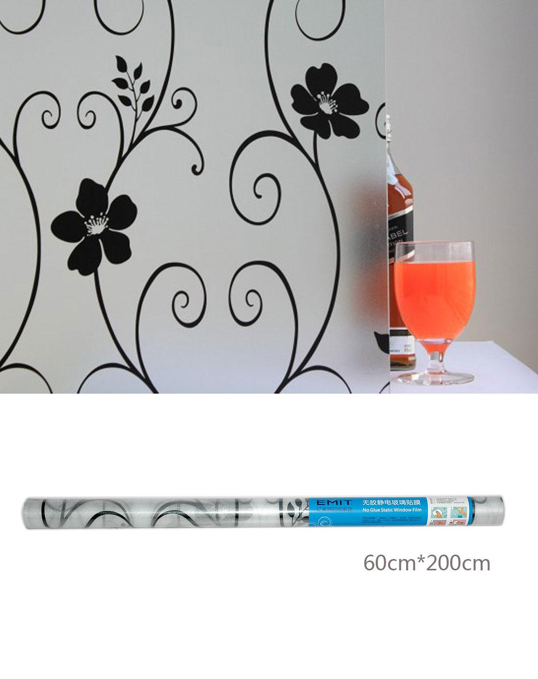 静电玻璃贴铁艺黑花纹2m/卷