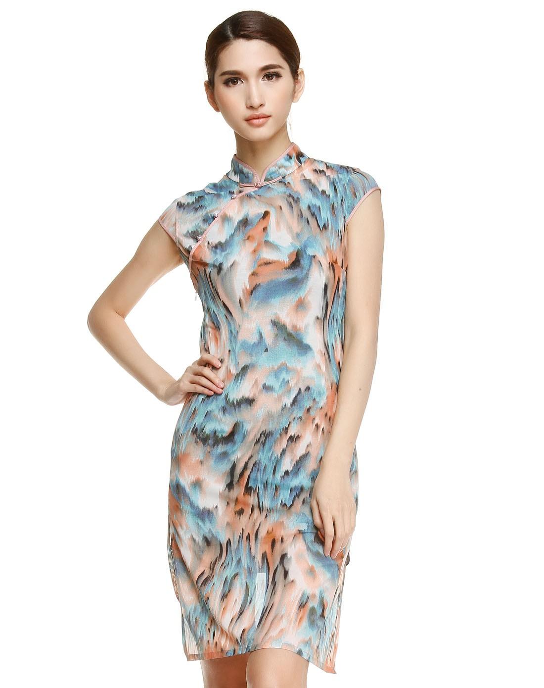 蓝/暗红色复古花纹盖肩袖连衣裙