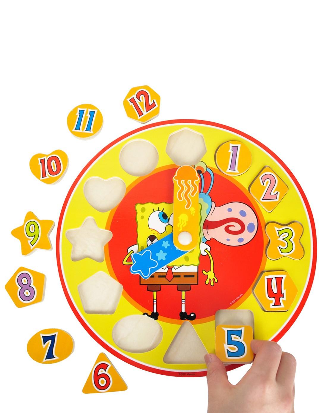 特宝儿等益智玩具海绵宝宝数字时钟拼版t034