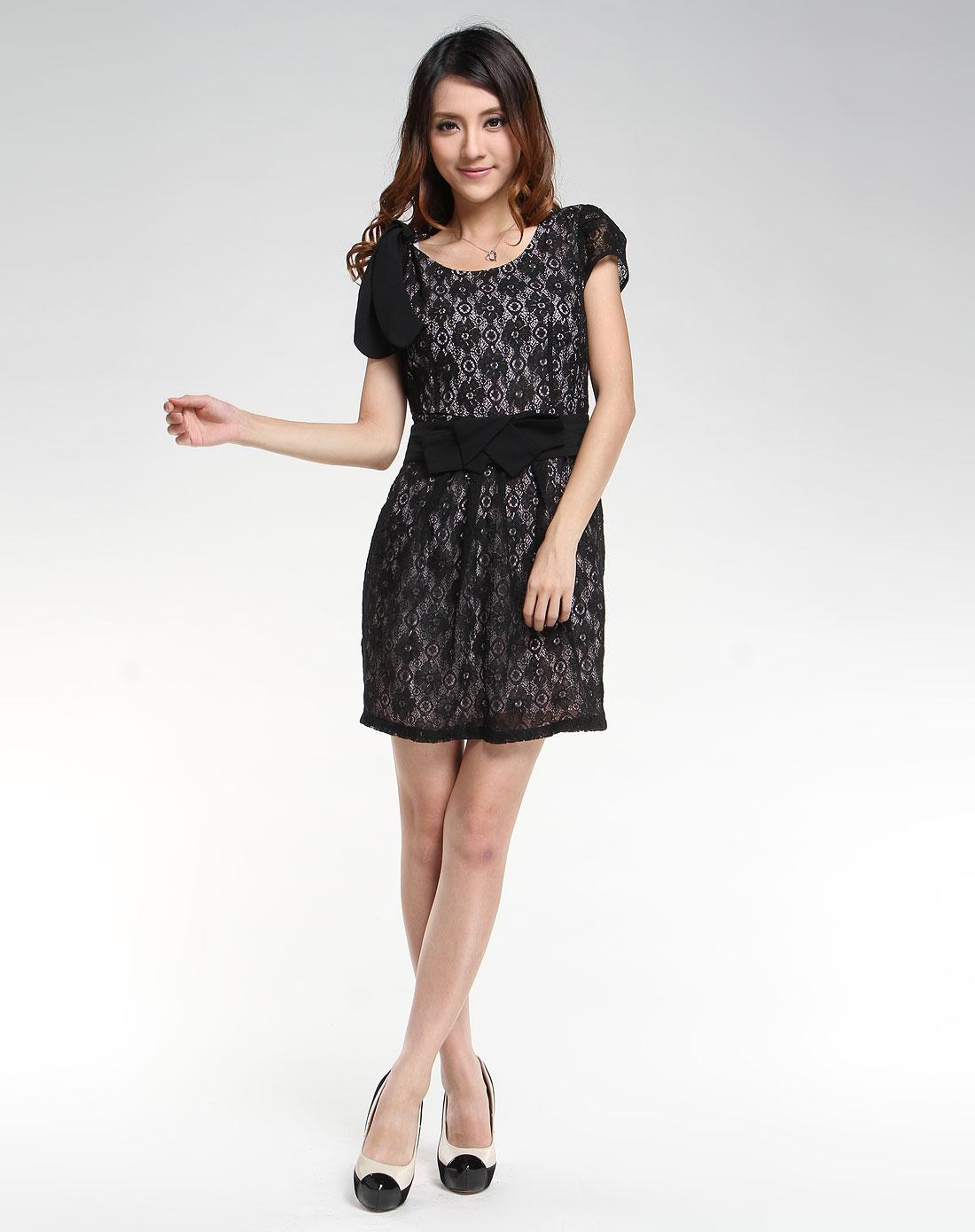 傲丝度isayido女装专场-黑色蕾丝花边短袖连衣裙