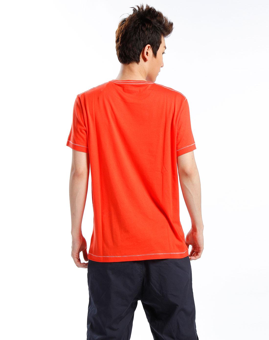 男款橘红色圆领短袖t恤
