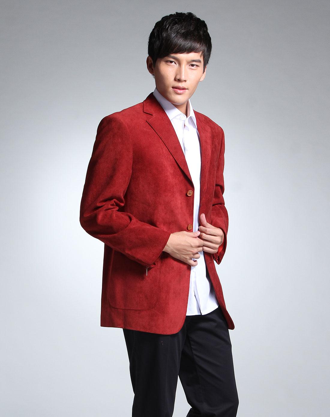 红色休闲简约厚款长袖西装外套